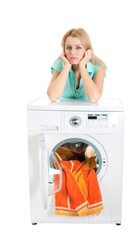 Beautiful girl and a washing machine
