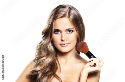 beauty girl with makeup brushe