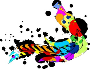 Multicolored pheasant and blurs