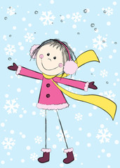 Funny girl on winter background
