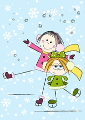 Funny girls on winter background