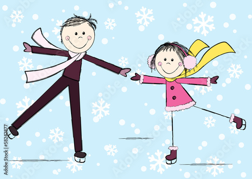 Funny girl with boy on winter background