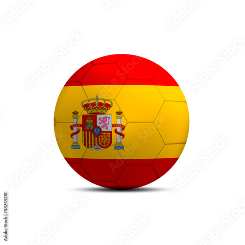 Spain flag ball isolated on white background