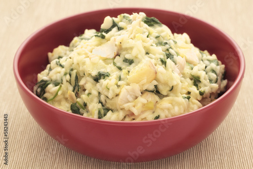 Risotto with haddock, leeks and spinach