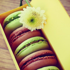 delicious macaroon packed in a box of handmade.