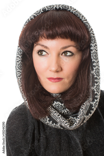 Portrait of beautiful  brunette woman in  peruvian poncho