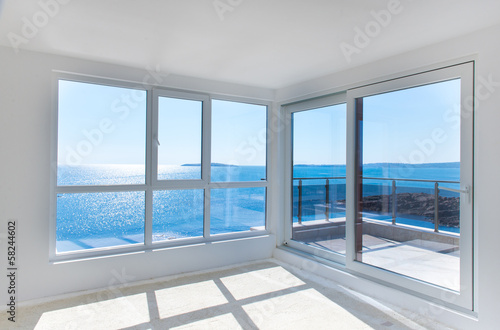 canvas print picture Empty room with sea view