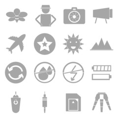 Camera shooting icons on white background