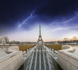 Storm above Eiffel Tower in Paris