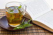 Green tea and leaves of mint in a glass cup with a book