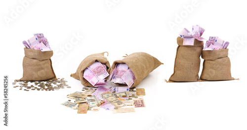 Collage of money in bags.
