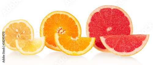 Lemon, orange and grapefruit in a cross-section
