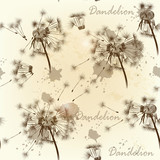Seamless wallpaper pattern with dandelions