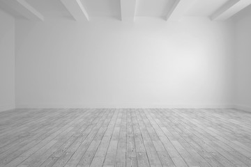 Big room with white wall