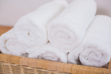 Clean rolled white towels