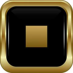 Black gold stop button.