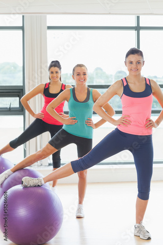 Portrait of class exercising with fitness balls at gym