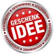 """Button """"Geschenkidee"""" rot/silber"""