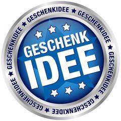 """Button """"Geschenkidee"""" blau/silber"""
