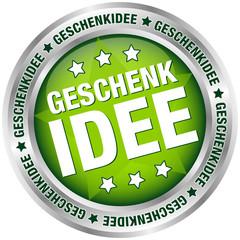 """Button """"Geschenkidee"""" grün/silber"""