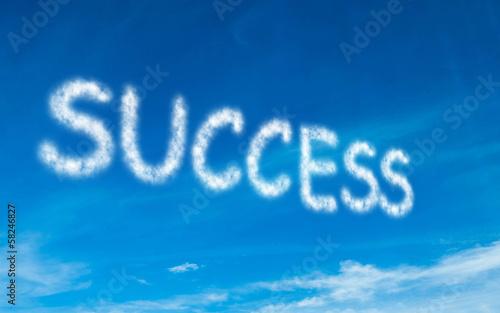 Success written in white in sky