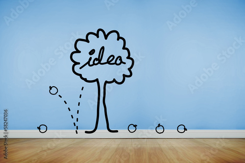 Idea tree graphic on blue wall
