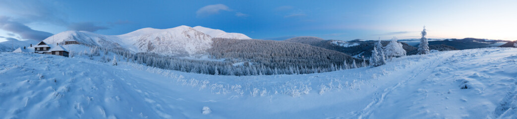Predawn winter mountain panorama (Carpathian, Ukraine).