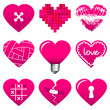 9 Hearticons Pink