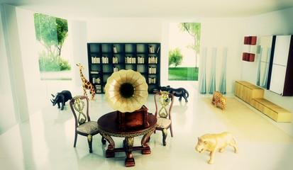 Rendering 3d progetto, interni, Grammofono, Appartamento