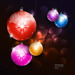 Vector colorful christmas balls on dark background