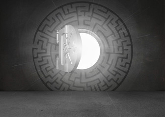 Open safe in middle of maze on black wall