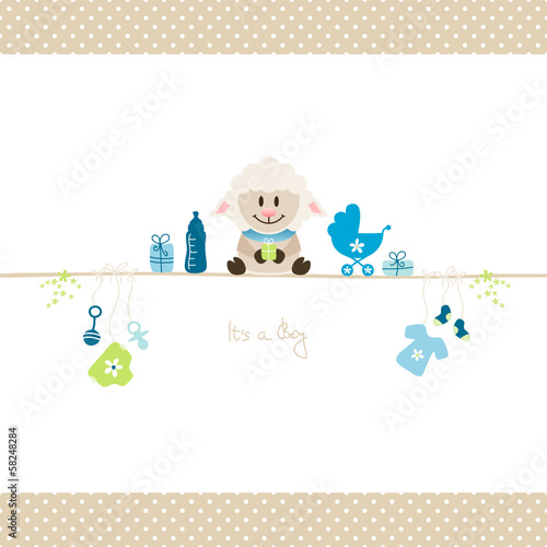 Sheep & Baby Symbols Boy Retro Dots