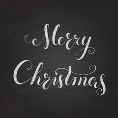 Christmas chalkboard with calligraphy  lettering.