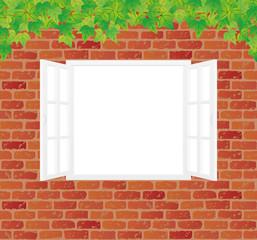 レンガ壁に白い窓