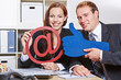 Business team holding thumbs up for internet