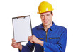 Construction worker showing clipboard