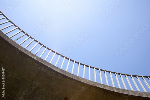 Closeup Abstract View of Curved Pedestrian Footbridge
