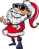 Santa wearing sunglasses with a big smile