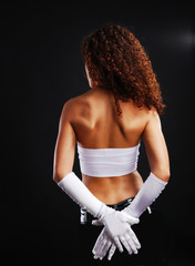 Sexy woman in long gloves.