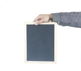 Hand holding empty blackboard