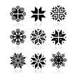 Christmas, winter snowflakes vector icons set