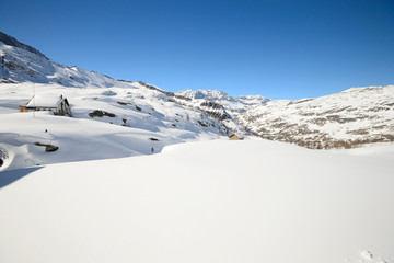 Pure white alpine landscape