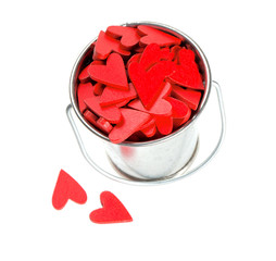 wooden hearts in a silver bucket