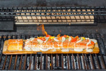 Cooking Salmon on Cedar Plank in the Barbecue