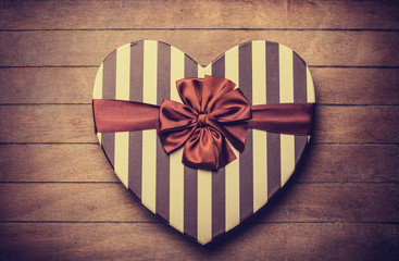 Heart shape valentine box handmade on wooden background