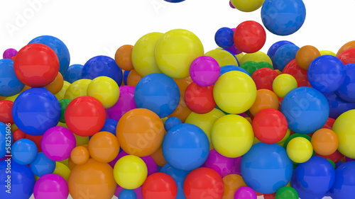 Animation of Colorful Balls Falling with Alpha Channel. Full HD