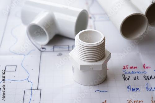 Leinwandbild Motiv Irrigation and reticulation plumbing parts on reticulation plan.