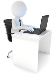 männchen arbeitet am Computer