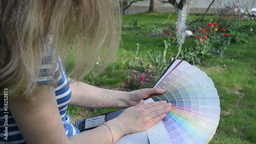 Color pick palette spring garden. Woman designer work outdoor