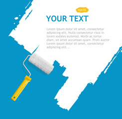 Vector roller brush, white background